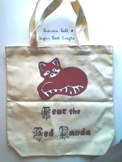 Red Panda Tote Hand decorated