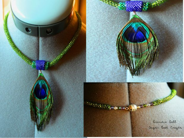 Peyote Stitch Peacock Necklace