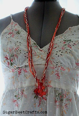 Coral and Chain Bead Necklace