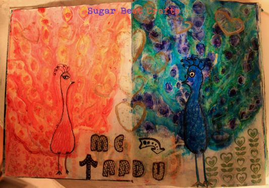 me and you peacock art journal