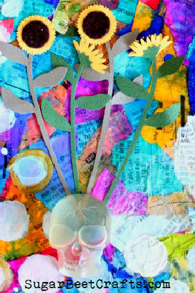 Recycled Beauty Art Page on Cereal Box by Brandie Bell