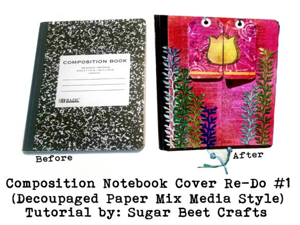 Composition Book Cover Template : Composition notebook cover re do decoupaged paper mix